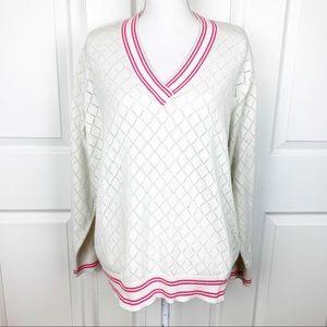 Tommy Hilfiger Woman Golf V Neck Varsity Sweater